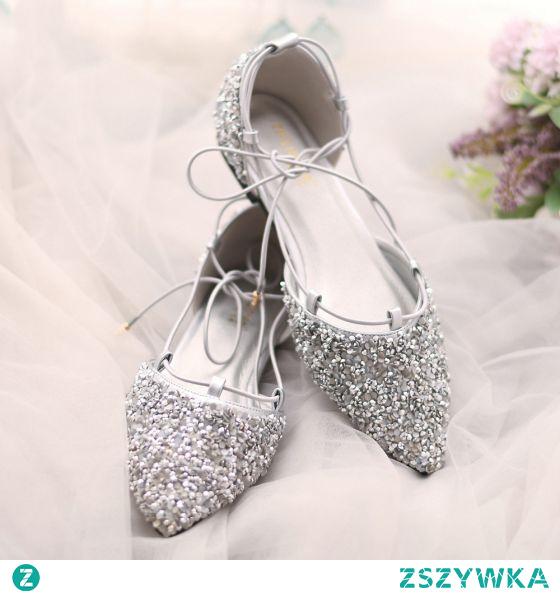 Uroczy Srebrny Rhinestone Cekiny ślubna Płaskie Buty Ślubne 2021 Szpiczaste Ślub Na Obcasie