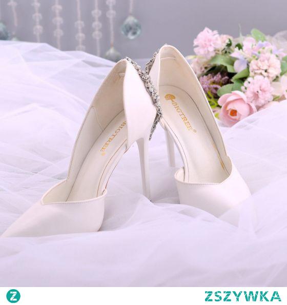 Eleganckie Białe Rhinestone ślubna Buty Ślubne 2021 10 cm Szpilki Szpiczaste Ślub Wysokie Obcasy