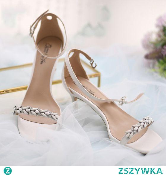 Seksowne Białe Rhinestone Buty Ślubne 2021 Z Paskiem 6 cm Szpilki Peep Toe Ślub Wysokie Obcasy