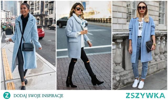 Modne stylizacje z błękitnym płaszczem