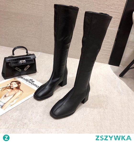 Moda Zima Czarne Zużycie ulicy Buty Damskie 2021 Grubym Obcasie 5 cm Okrągłe Toe Boots