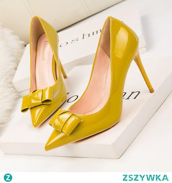 Piękne Żółta Biuro OL Kokarda Skóry Lakierowanej Czółenka 2021 10 cm Szpilki Wysokie Obcasy Szpiczaste Czółenka