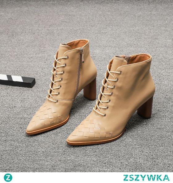 Moda Beżowe Zużycie ulicy Skórzany Botki Buty Damskie 2021 6 cm Grubym Obcasie Szpiczaste Wysokie Obcasy Boots