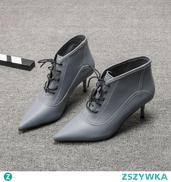 Moda Szary Błękitne Botki Buty Damskie 2021 5 cm Szpilki Szpiczaste Wysokie Obcasy Boots