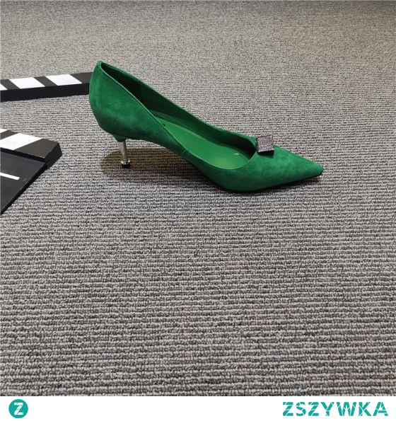 Proste / Simple Zielony Przypadkowy Rhinestone Zamszowe Czółenka 2021 5 cm Szpilki Szpiczaste Wysokie Obcasy Czółenka