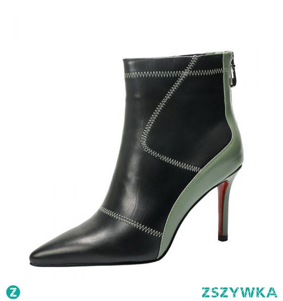 Moda Czarne Dwa kolory Zużycie ulicy Buty Damskie 2021 Skórzany 6 cm Szpilki Szpiczaste Botki Boots
