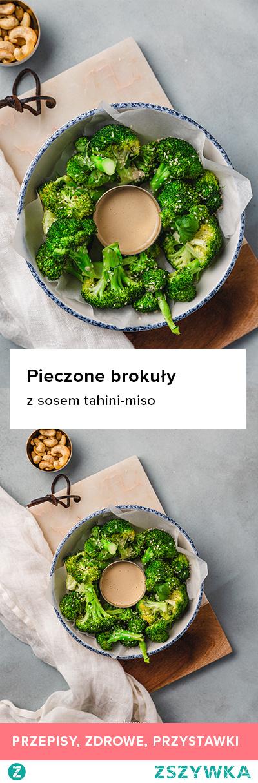 Przepis na pieczone brokuły z sosem tahini-miso