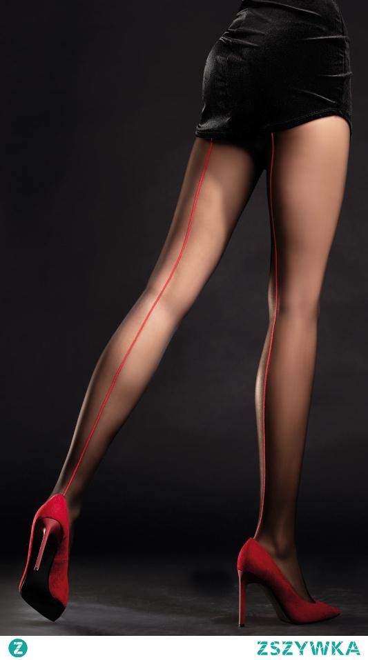 Ekscytujące rajstopy damskie z przykuwającym uwagę czerwonym szwem. Chcesz więcej propozycji zajrzyj na diores.pl Lub zamów tel.509541542 albo sklep@diores.pl