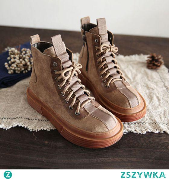 Moda Zima Khaki Zużycie ulicy Zamszowe Płaskie Buty Damskie 2021 Okrągłe Toe Botki Boots