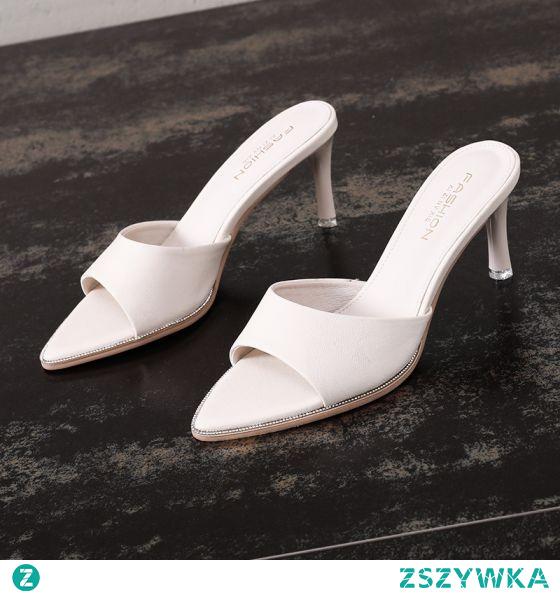 Seksowne Przypadkowy Beżowe Rhinestone Pantofle & Klapki 2021 7 cm Szpilki Peep Toe Sandały Damskie
