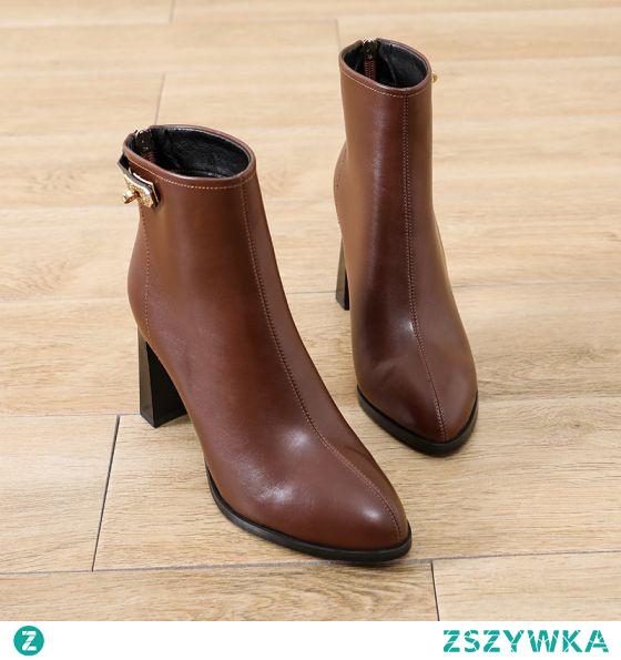 Moda Brązowy Zużycie ulicy Botki Buty Damskie 2021 8 cm Grubym Obcasie Szpiczaste Boots Wysokie Obcasy