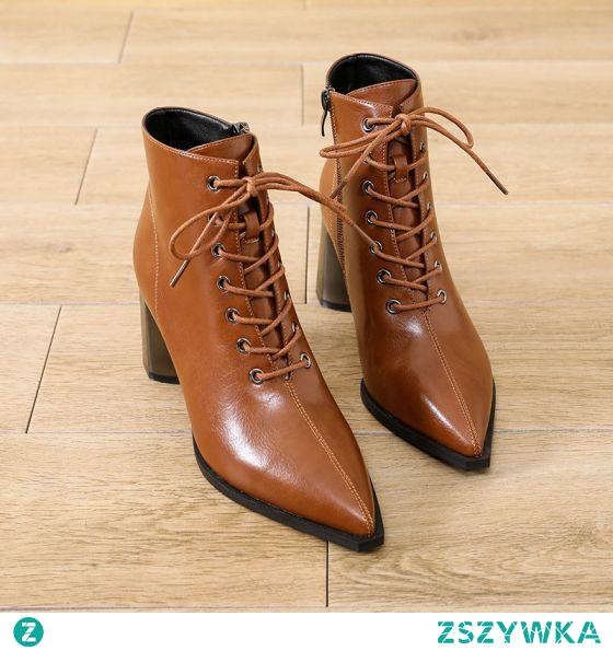 Moda Brązowy Zużycie ulicy Koronki Botki Buty Damskie 2021 7 cm Grubym Obcasie Szpiczaste Boots Wysokie Obcasy
