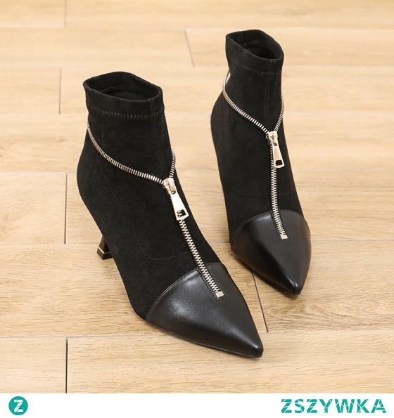 Klasyczna Czarne Zużycie ulicy Botki Zamszowe Buty Damskie 2021 7 cm Szpilki Szpiczaste Boots Wysokie Obcasy