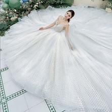 Luksusowe Wysokiej Klasy Białe Suknie Ślubne 2021 Suknia Balowa Spaghetti Pasy Cekiny Bez Rękawów Bez Pleców Trenem Królewski Ślub