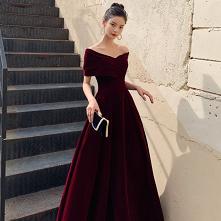 Piękne Burgund Zamszowe Suk...