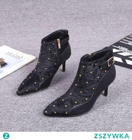 Moda Czarne Zużycie ulicy Nit Zamszowe Buty Damskie 2021 Skórzany Botki 5 cm Szpilki Szpiczaste Boots Wysokie Obcasy