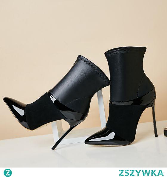Moda Czarne Zużycie ulicy Botki Buty Damskie 2021 10 cm Szpilki Szpiczaste Boots Wysokie Obcasy