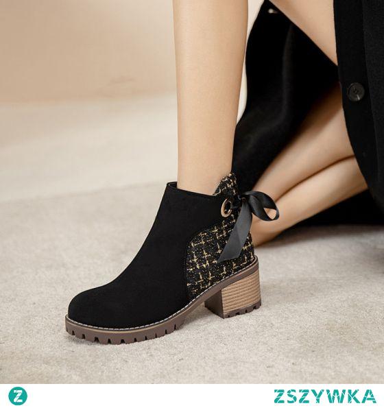 Moda Czarne Zużycie ulicy Kokarda Buty Damskie 2021 Botki 6 cm Grubym Obcasie Okrągłe Toe Boots Wysokie Obcasy