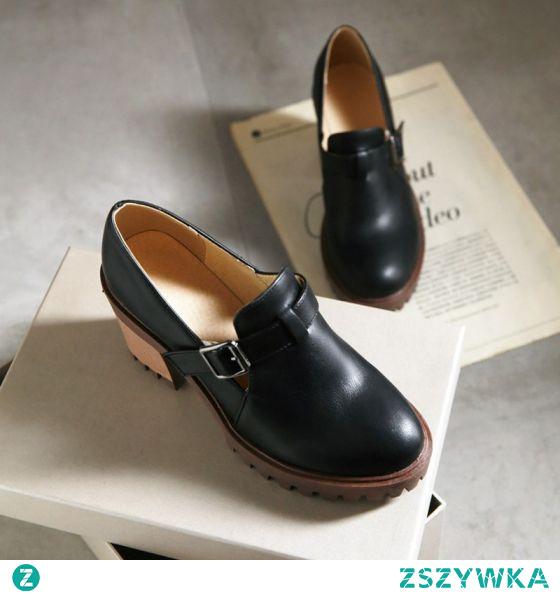 Vintage Stylowe / Modne Czarne Zużycie ulicy Buty Damskie 2021 8 cm Grubym Obcasie Okrągłe Toe Boots Wysokie Obcasy