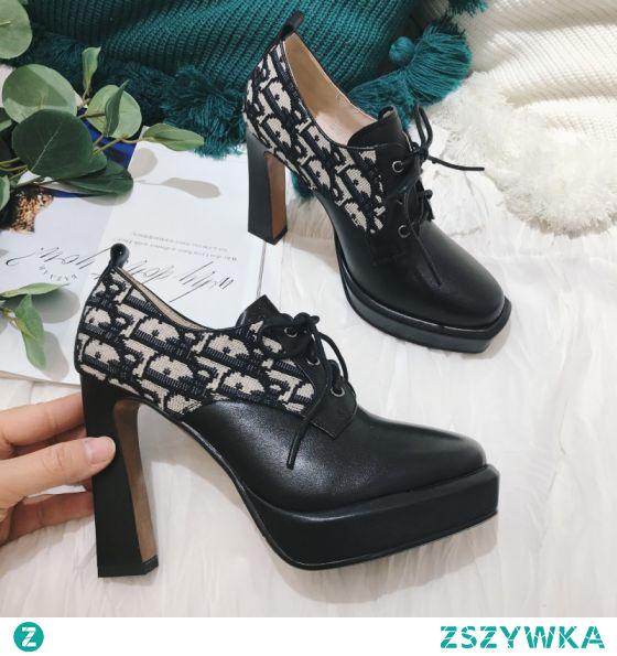 Piękne Czarne Zużycie ulicy Koronki Botki Buty Damskie 2021 Skórzany 10 cm Grubym Obcasie Okrągłe Toe Boots Wysokie Obcasy