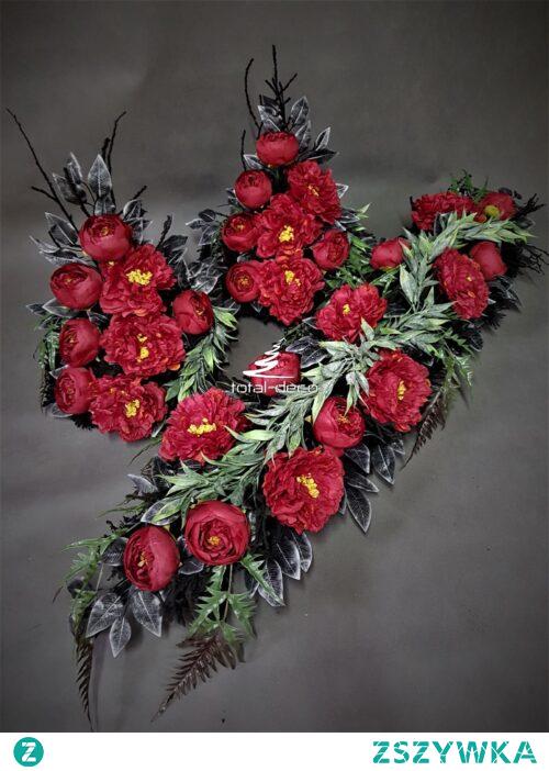 Zestaw dekoracji na cmentarz z czerwonych kwiatów od totaldeco.pl