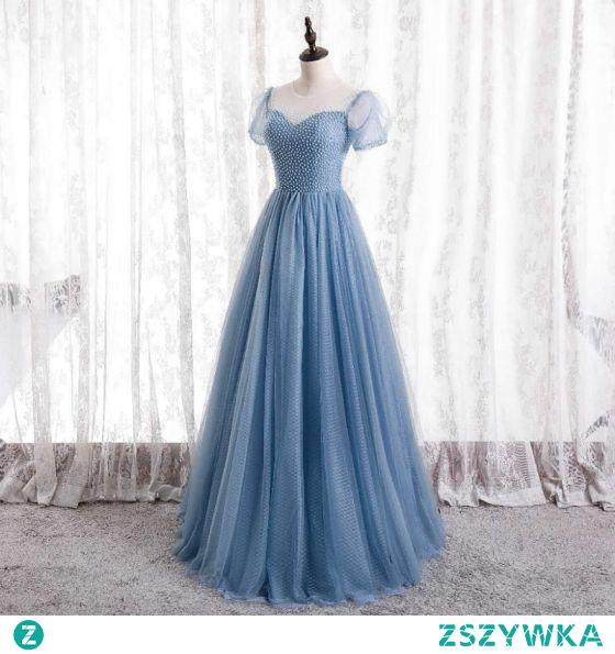 Uroczy Niebieskie Frezowanie Sukienki Na Bal 2021 Princessa Wycięciem Kótkie Rękawy Długie Sukienki Wizytowe