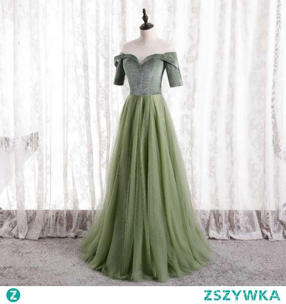 Czarujący Szałwia Zielony Sukienki Na Bal 2021 Princessa Wycięciem Zamszowe 1/2 Rękawy Bez Pleców Długie Sukienki Wizytowe