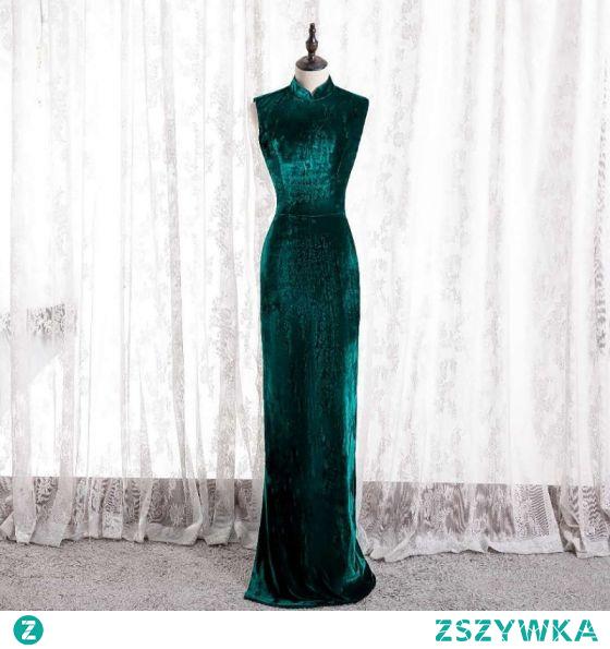 Chiński Styl Ciemnozielony Cheongsam Syrena / Rozkloszowane Sukienki Wieczorowe 2021 Wysokiej Szyi Bez Rękawów Zamszowe Wieczorowe Długie Sukienki Wizytowe