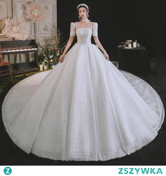 Proste / Simple Wysokiej Klasy Białe Cekinami Suknie Ślubne 2021 Suknia Balowa Wycięciem Kótkie Rękawy Bez Pleców Kokarda Trenem Królewski Ślub