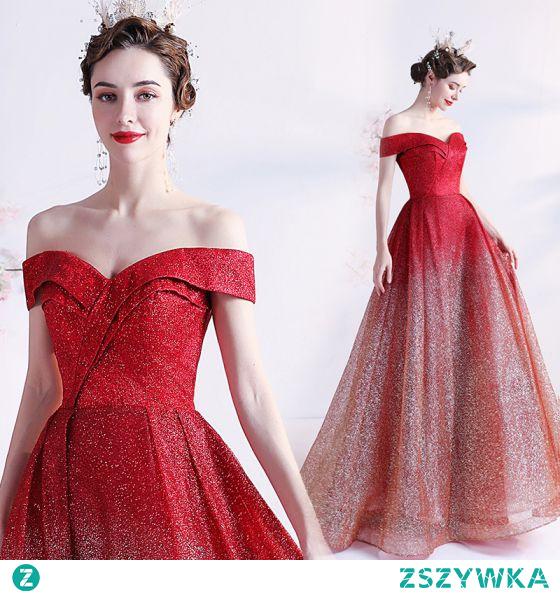Błyszczące Seksowne Gradient-Kolorów Czerwone Sukienki Na Bal 2021 Princessa Przy Ramieniu Cekinami Cekiny Bez Rękawów Bez Pleców Długie Sukienki Wizytowe