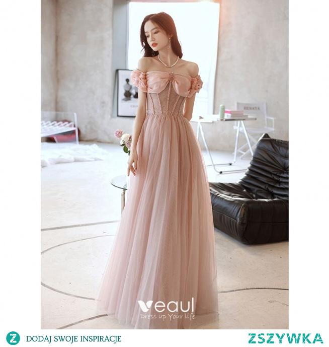 Uroczy Rumieniąc Różowy Sukienki Wieczorowe 2021 Princessa Przy Ramieniu Bez Rękawów Bez Pleców Kryształ Długie Bal Sukienki Wizytowe
