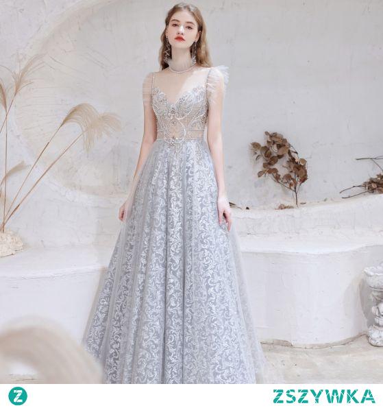Seksowne Srebrny Sukienki Na Bal 2021 Princessa Wysokiej Szyi Frezowanie Rhinestone Z Koronki Kwiat Bez Rękawów Bez Pleców Długie Sukienki Wizytowe