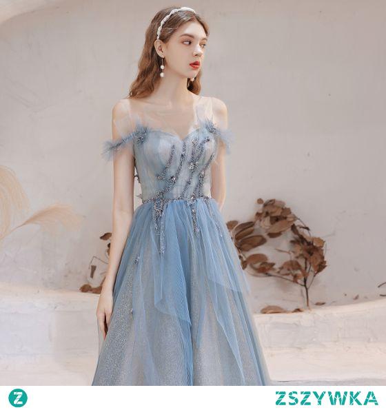 Oszałamiający Błękitne Sukienki Na Bal 2021 Princessa Wycięciem Bez Rękawów Cekinami Wzburzyć Tiulowe Długie Wieczorowe Sukienki Wizytowe