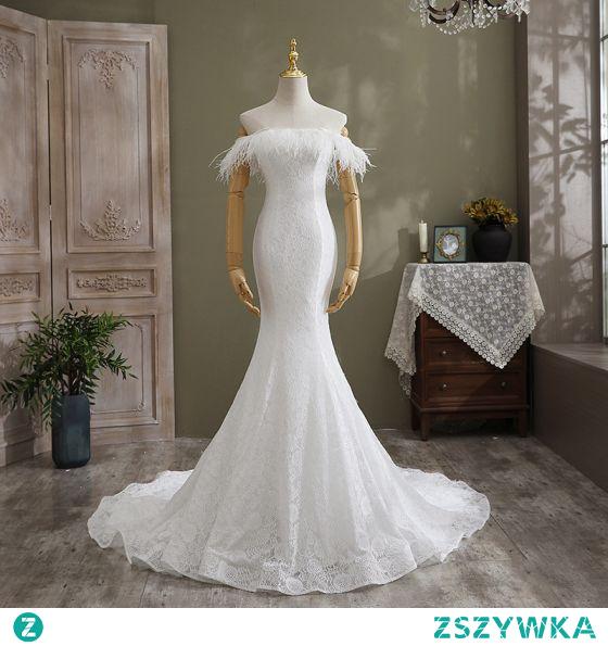 Uroczy Białe Suknie Ślubne 2021 Syrena / Rozkloszowane Przy Ramieniu Kutas Z Koronki Kwiat Bez Rękawów Bez Pleców Trenem Kaplica Ślub