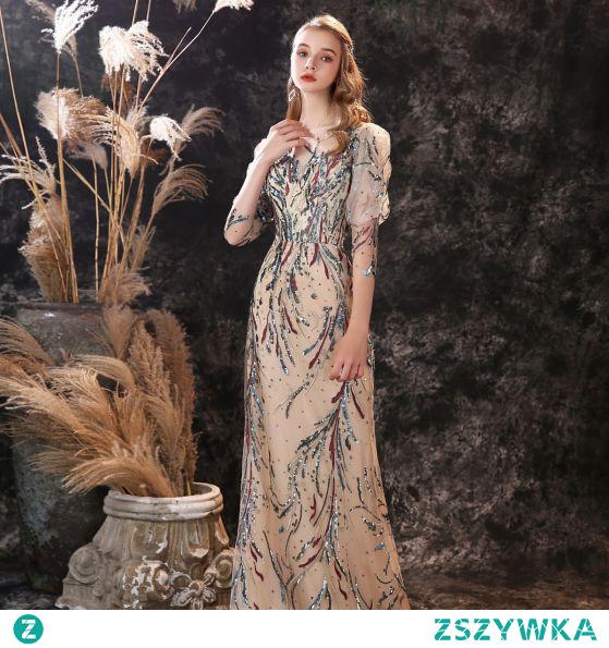 Wysokiej Klasy Szampan Sukienki Wieczorowe 2021 Syrena / Rozkloszowane Wycięciem Frezowanie Cekiny Z Koronki Kwiat 3/4 Rękawy Długie Wieczorowe Sukienki Wizytowe