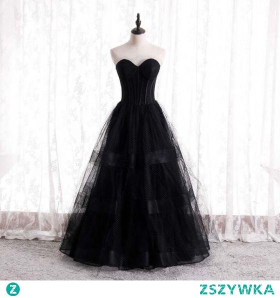 Eleganckie Czarne Sukienki Na Bal 2021 Princessa Kochanie Bez Rękawów Bez Pleców Długie Bal Sukienki Wizytowe