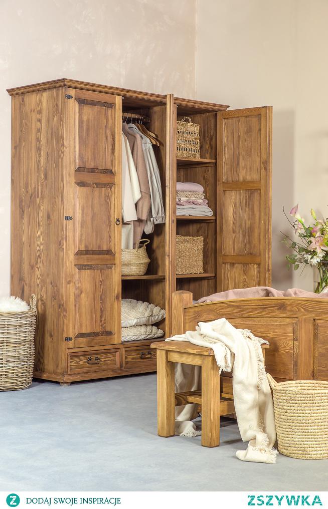stylowa szafa drewniana woskowana, sypialnia, wystrój wnętrz, meble-woskowane.com.pl