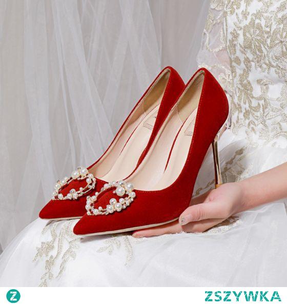 Piękne Czerwone Perła Rhinestone Buty Ślubne 2021 10 cm Szpilki Szpiczaste Ślub Czółenka Wysokie Obcasy