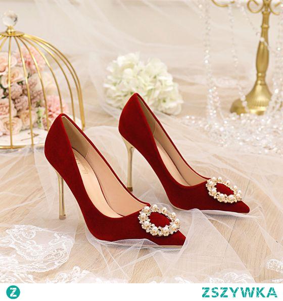 Moda Czerwone Perła Rhinestone Buty Ślubne 2021 10 cm Szpilki Szpiczaste Ślub Czółenka Wysokie Obcasy
