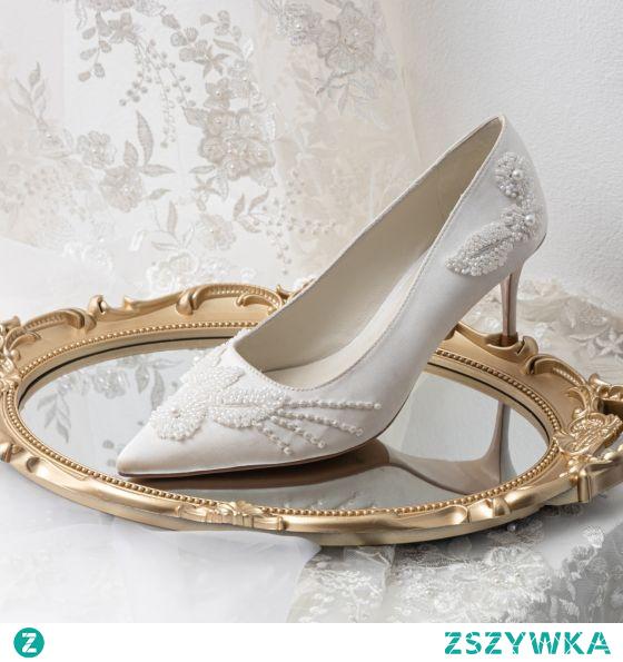 Eleganckie Białe Perła Satyna Buty Ślubne 2021 Skórzany 7 cm Szpilki Szpiczaste Ślub Czółenka Wysokie Obcasy