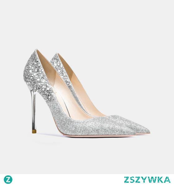 Błyszczące Srebrny Buty Ślubne 2021 Skórzany Cekiny 10 cm Szpilki Szpiczaste Ślub Czółenka Wysokie Obcasy