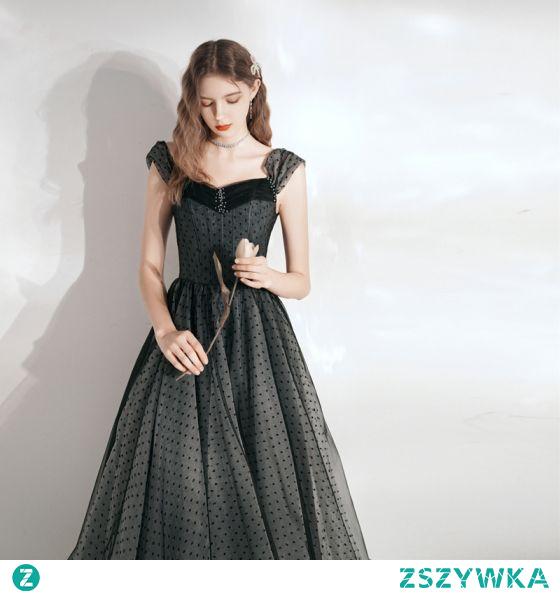 Eleganckie Czarne Spleciona Homecoming Sukienki Na Studniówke 2021 Princessa Kwadratowy Dekolt Bez Rękawów Bez Pleców Długie Sukienki Wizytowe