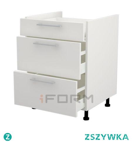 Uniwersalna szafka pod płytę indukcyjną z szufladami, może być także stosowana pod kuchenkę gazową. To miejsce na Twoje garnki, patelnie i sztućce!