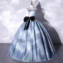 Iluzja Błękitne Sukienki Na Bal 2021 Suknia Balowa Bez Ramiączek Kokarda Bez Rękawów Bez Pleców Długie Sukienki Wizytowe