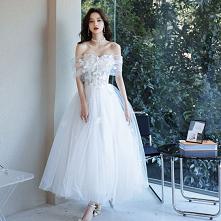 Proste / Simple Białe Z Koronki Kwiat Plaża Suknie Ślubne 2021 Princessa Przy Ramieniu Kótkie Rękawy Bez Pleców Długie
