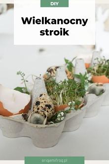 DIY Prosty Wielkanocny stroik na stół • Ozdoba wielkanocna na ostatnią chwilę origamifrog.pl