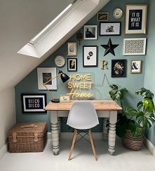 #ściana z obrazkami#biurko