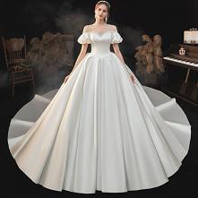 Wysokiej Klasy Eleganckie Kość Słoniowa Satyna Suknie Ślubne 2021 Suknia Balowa Perła Wycięciem Kótkie Rękawy Bez Pleców Trenem Królewski Ślub