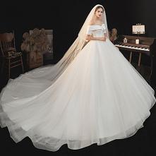 Proste / Simple Eleganckie Kość Słoniowa Suknie Ślubne 2021 Princessa Przy Ramieniu Kótkie Rękawy Bez Pleców Trenem Królewski Ślub
