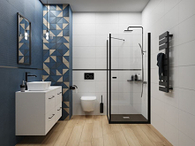 Biało-niebieska łazienka z drewnopodobną podłogą.